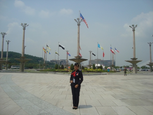 In front of the waving flag in Putra Jaya